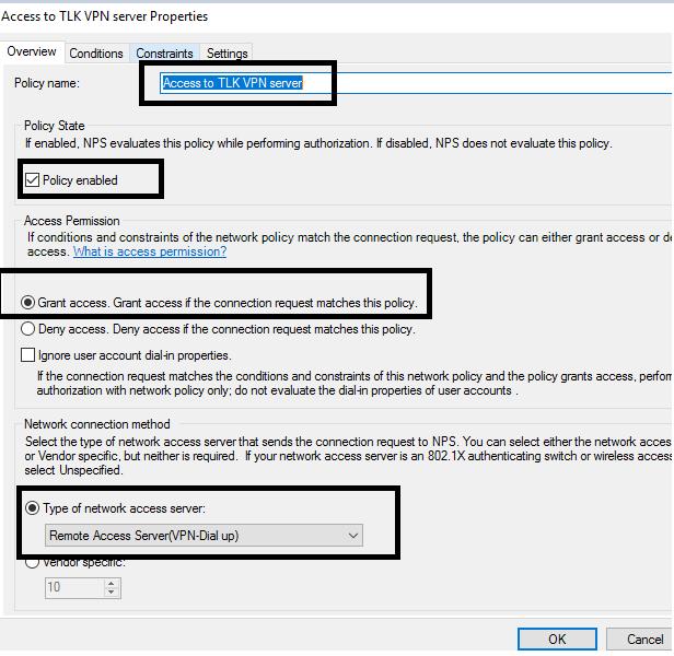 Configure Radius VPN server with NPS authentication policy